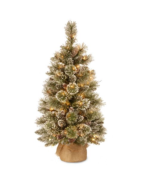 National Tree Company 3' Glittery Bristle Pine Burlap Tree with 7 White Tipped Cones & 35 Warm White Battery Operated LED Lights w/Timer