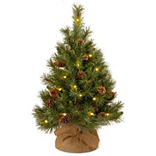 National Tree Company 3' Pine Cone Burlap Tree with 35 Warm White Battery Operated LED Lights w/Timer