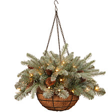 """National Tree 20"""" """"Feel Real"""" Frosted Artic Spruce Hanging Basket with Cones and 35 Warm White Battery Operated LED Lights with Timer"""