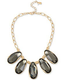"Robert Lee Morris Soho Gold-Tone Stone Statement Necklace, 16"" + 3"" extender"