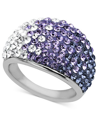 Kaleidoscope Sterling Silver Ring Purple Crystal Dome