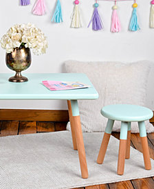 Kids 3-Piece Table And Stool Painted Dipped