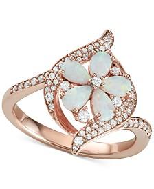 Opal (1-1/10 ct. t.w.) & Diamond (1/3 ct. t.w.) Flower Ring in 14k Rose Gold