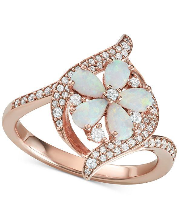 Macy's Opal (1-1/10 ct. t.w.) & Diamond (1/3 ct. t.w.) Flower Ring in 14k Rose Gold