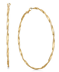 "Thalia Sodi Extra Large Gold-Tone Twist Hoop Earrings 4"", Created for Macy's"