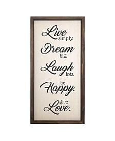 """Stratton Home Decor """"Live, Dream, Laugh, Happy, Love"""" Wall Decor"""