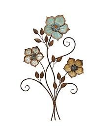 Stratton Home Decor Tricolor Flower Wall Decor