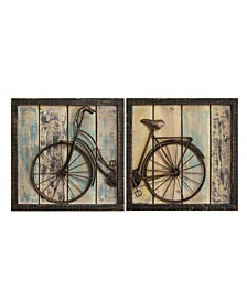 Stratton Home Decor Set of 2 Rustic Bicycle Wall Decor