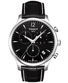 Tissot Men's Swiss Chronograph Tradition Black Leather Strap Watch 42mm T0636171605700