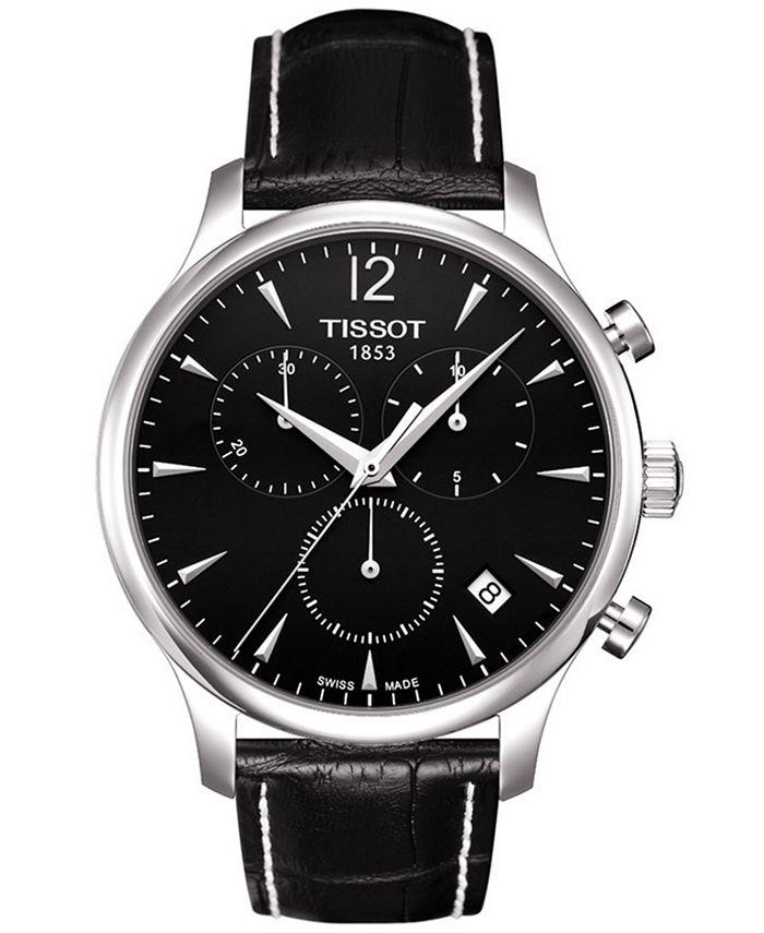 Tissot - Watch, Men's Swiss Chronograph Tradition Black Leather Strap T0636171605700