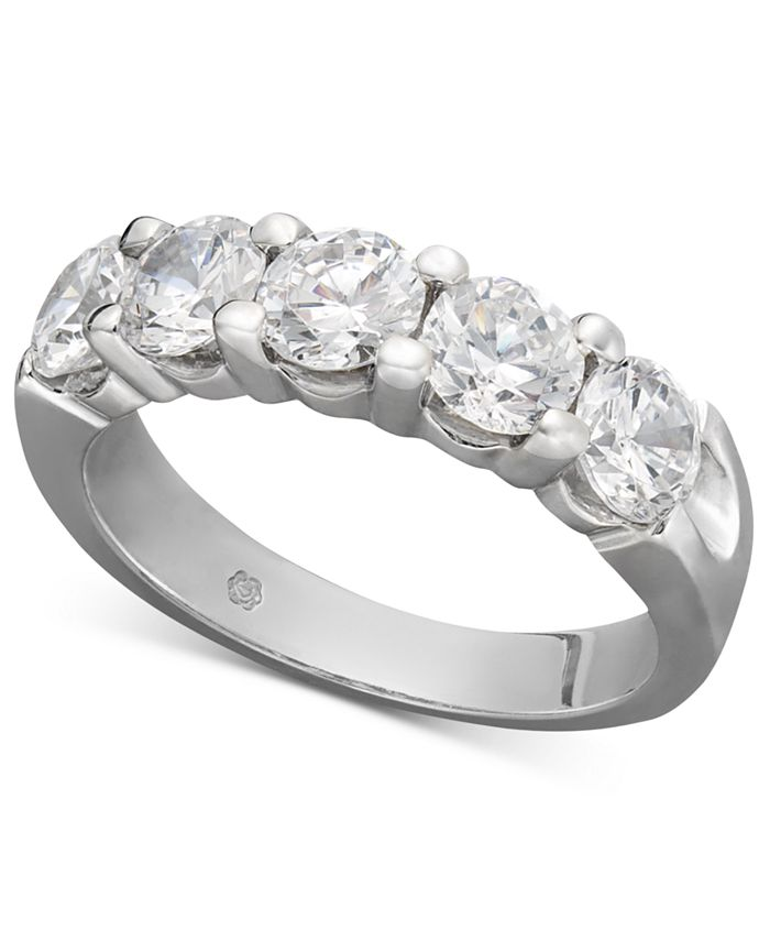 Macy's - Certified Five Diamond Station Band Ring in 14k White Gold (2 ct. t.w.)