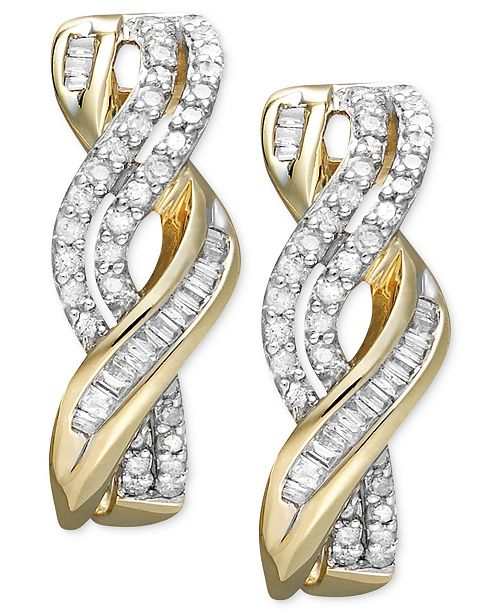 Macy's Diamond Twist Earrings in 14k Gold (1/2 ct. t.w.)