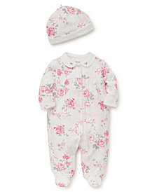 Little Me Baby Girls Roses Footie with Hat