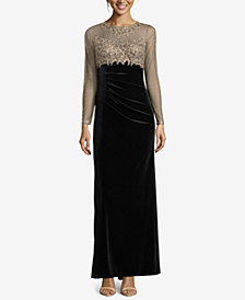XSCAPE Petite Embellished Illusion Velvet Gown