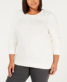 Karen Scott Plus Size Embroidered Crewneck Sweater, Created for Macy's