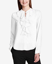 Ruffled Tie-Neck Blouse