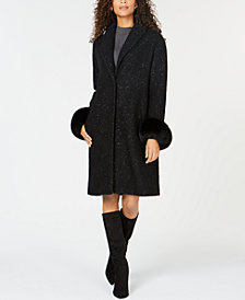 Elie Tahari Fox-Fur-Cuffs Coat