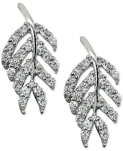 4140ffde3 Giani Bernini Cubic Zirconia Leaf Stud Earrings in Sterling Silver, Created  for Macy's