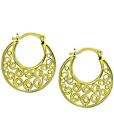 "Giani Bernini Filigree Small Hoop Earrings in 18k Gold-Plated Sterling Silver, 0.75"", Created for Macy's"