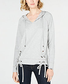 MICHAEL Michael Kors Lace-Up Hoodie, Created for Macy's
