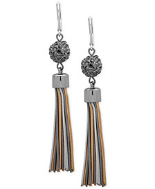 Nine West Tri-Tone Crystal Ball Fringe Drop Earrings