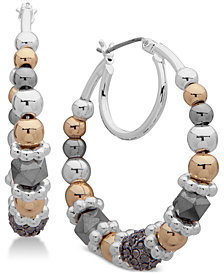 Nine West Tri-tone Beaded Double Hoop Earrings