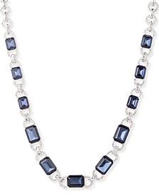"""Lauren Ralph Lauren Silver-Tone Crystal & Stone Link Collar Necklace, 17"""" + 3"""" extender"""