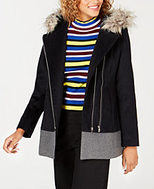 Coffeeshop Junior's Faux-Fur-Trim Hooded Asymmetrical Coat