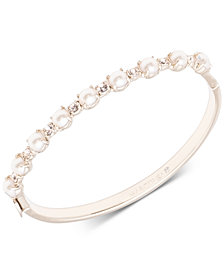 Marchesa Imitation Pearl & Crystal Bangle Bracelet
