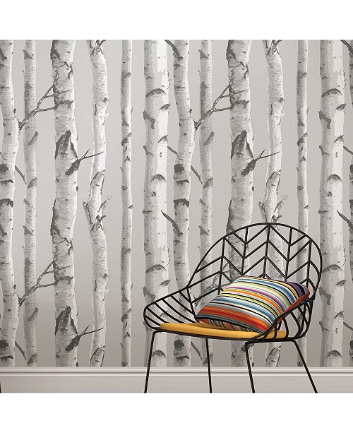 Brewster Home Fashions Mountain Birch Grey Peel And Stick Wallpaper