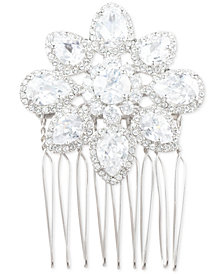 Marchesa Silver-Tone Crystal Flower Hair Comb