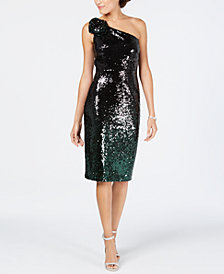 Vince Camuto Ombré-Sequined Sheath Dress