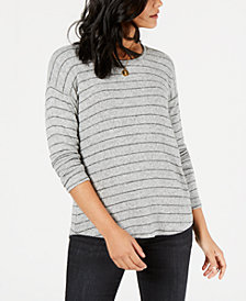 Style & Co Striped Long-Sleeve Top, Created for Macy's
