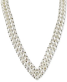 "Cultured Freshwater Button Pearl (6mm) and Silver Bead ""V"" 18"" Statement Necklace in Sterling Silver"
