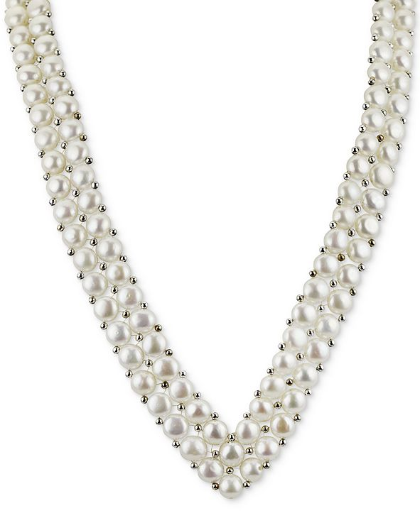 """Macy's Cultured Freshwater Button Pearl (6mm) and Silver Bead """"V"""" 18"""" Statement Necklace in Sterling Silver"""