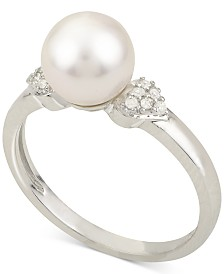 Cultured Akoya Pearl (7-1/2mm) & Diamond Accent Ring in 14k White Gold