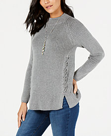 Style & Co Petite Lace-Up Sweater, Created for Macy's