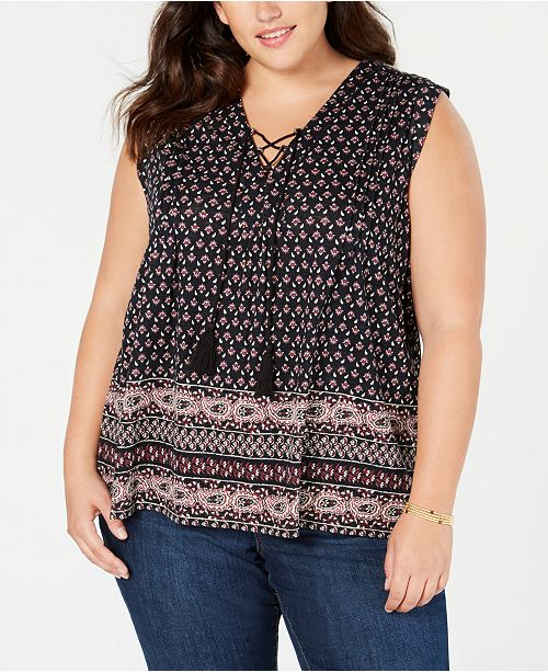 c5378808ea451 Product Details. A boho-inspired lace-up neckline freshens this cool plus  size ...