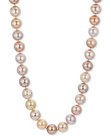 "Multicolor Cultured Freshwater Pearl (9-1/2-11mm) 18"" Strand Necklace in 14k Rose Gold"