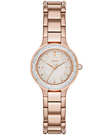DKNY Women's Chambers Rose Gold-Tone Stainless Steel Bracelet Watch 28mm, Created for Macy's