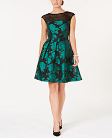 julia jordan Mesh & Jacquard A-Line Dress