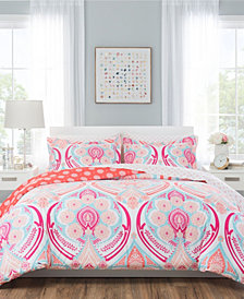 Nicole Miller Isabella Pink Reversible Bedding 7-Piece Full/Queen Set