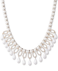 "Ivanka Trump Gold-Tone Crystal & Imitation Pearl Statement Necklace, 16"" + 3"" extender"