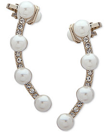 Ivanka Trump Gold-Tone Imitation Pearl & Crystal Ear Climbers