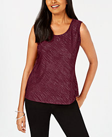 JM Collection Petite Jacquard-Print Top, Created for Macy's