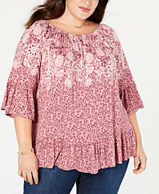 Style & Co Plus Size Mixed-Print Ruffled Off-The-Shoulder Top, Created for Macy's
