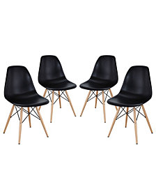 Modway Pyramid Dining Side Chairs Set of 4