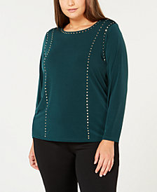 Calvin Klein Plus Size Studded Top