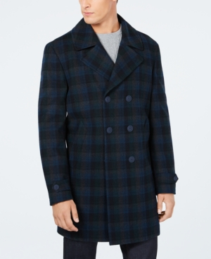 Men's Vintage Style Coats and Jackets Tommy Hilfiger Mens Modern-Fit Nelly Check Pattern Overcoat $196.99 AT vintagedancer.com