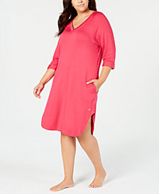 Sesoire Plus Size V-Neckline Terry-Knit Nightgown